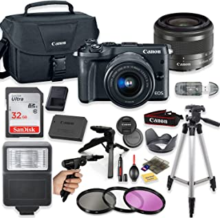 Canon EOS M6 Mirrorless Digital Camera (Black) with 15-45mm STM Lens + Deluxe Accessory Bundle Including Sandisk 32GB Card, Canon Case, Flash, Grip Multi Angle Tripod, 50