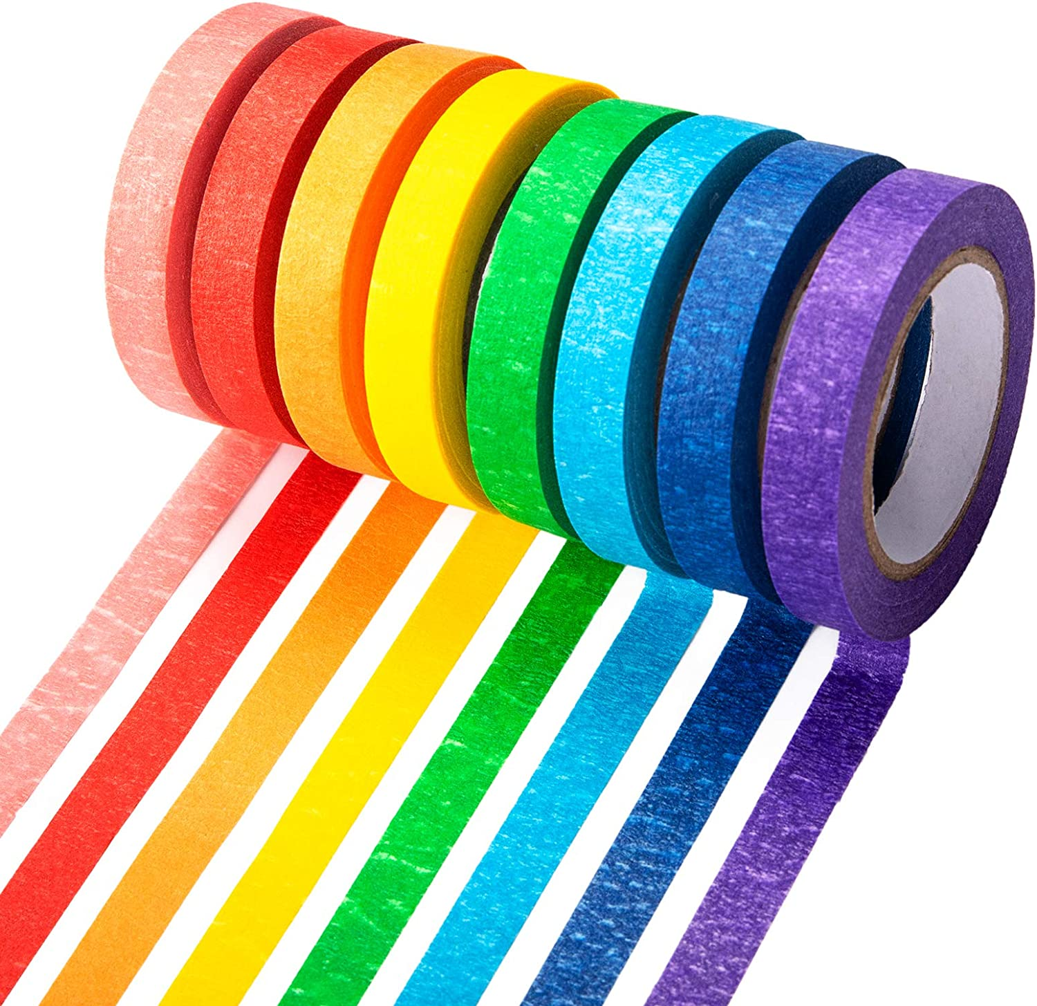 Colored Masking Tapes 12 Rolls 0.4 Inch, Colorful Painters Tapes Rainbow Labeling Arts Decorative for Kids Colored Craft Tapes 144 Yards for Craft, School Projects, Party Decorations
