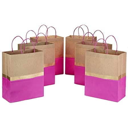 """Hallmark 13"""" Large Paper Gift Bags (Pack of 6 - Pink & Kraft) for Birthdays, Easter, Weddings, Mother's Day, Baby Showers, Bridal Showers or Any Occasion"""