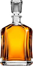 Paksh Capitol Glass Decanter with Airtight Geometric Stopper - Whiskey Decanter for Wine, Bourbon, Brandy, Liquor, Juice, Water, Mouthwash. Italian Lead-Free Glass | 23.75 oz