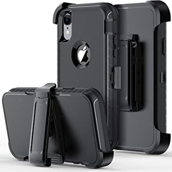 ORIbox Defense Case for iPhone X/XS , Shockproof Anti-Fall Protective case, Update Strong Protection with Belt Clip, Black