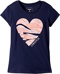 Converse Kids - Print Layered Heart Tee (Big Kids)