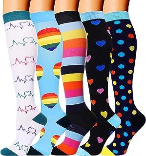 5 Pairs Compression Socks for Men Women 20-30 mmHg for Running Nurses Flight Pregnancy (Jacquard 01, Small/Medium (5 Pair))