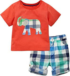Little Boys' Short Set Summer Outfit Play Clothing Sets Short Sleeve Cotton 2-Piece