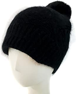 surell Winter Knit Hat with Rabbit Fur Ski Cap - Real Fur Pompom Slouch Beanie