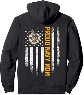 Vintage USA Proud US Navy Mom American Flag Patriotic Gift Pullover Hoodie