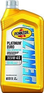 Pennzoil 550051120-6PK Platinum Euro Full Synthetic 5W-40 Motor Oil, 1 Quart, 6 Pack