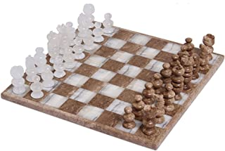 NOVICA Nat Geo Gifts Marble And Stone Chess Set, Brown And Ivory, 'Brown And Ivory Challenge' (13.5 In.)