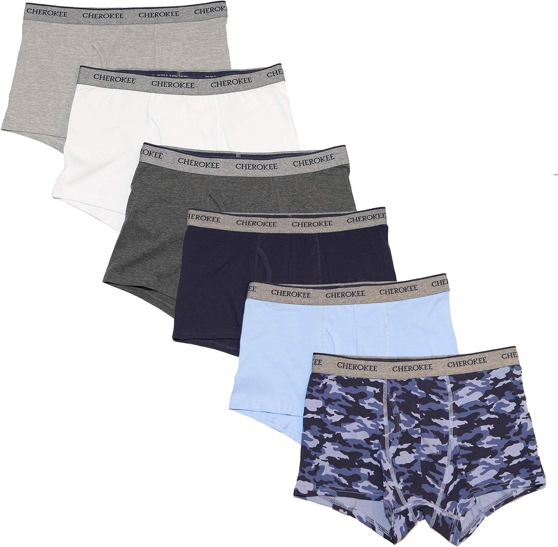 Cherokee Men's 6-Pack Cotton Stretch Boxer Brief Underwear, Multicolor