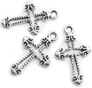 Silver Cross Charms for Jewelry Making 96 Pieces Crosses Charms Beads DIY Religious Findings Heather's cf (2616mm)