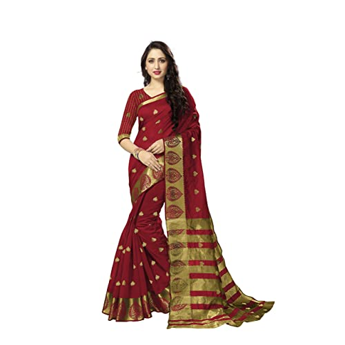 874db043c8 FashionCraft's Saree Cotton Saree With Blouse Piece Woven Zari Butta And  Zari Border Leaf Design