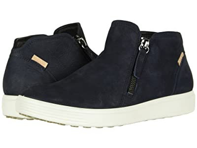 ECCO Soft 7 Low Cut Zip Bootie (Night Sky Cow Nubuck) Women