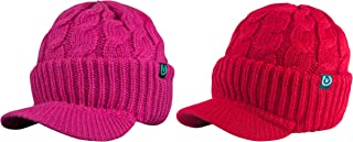 Newsboy Cable Knitted Hat with Visor Bill Winter Warm Hat for Women in Black, Charcoal, Dark Brown, Hot Pink, Red, White (Hot Pink & Red)