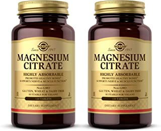 Solgar Magnesium Citrate, 120 Tablets - Pack of 2 - Promotes Healthy Bones, Supports Nerve & Muscle Function - Highly Abso...