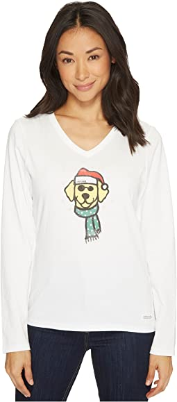 Life is Good - Holiday Dog Long Sleeve Crusher Vee