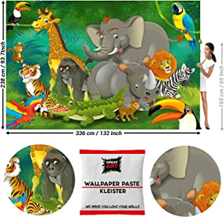 GREAT ART Photo Wallpaper Jungle Animal Kids Decoration 132.3x93.7in / 336x238cm - Wallpaper 8 Pieces Includes Paste.