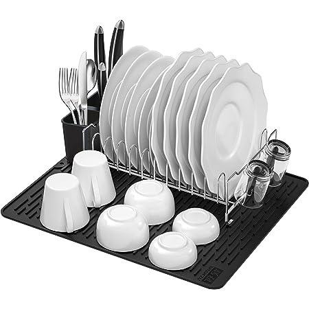 SHAN ZU Égouttoir à Vaisselle en Acier Inoxydable, Support à Vaisselle avec Égouttoir Amovible, Porte-Couverts et Porte-Gobelets, Tapis de Séchage, Séchoir à Vaisselle de Cuisine Multifonctionnel
