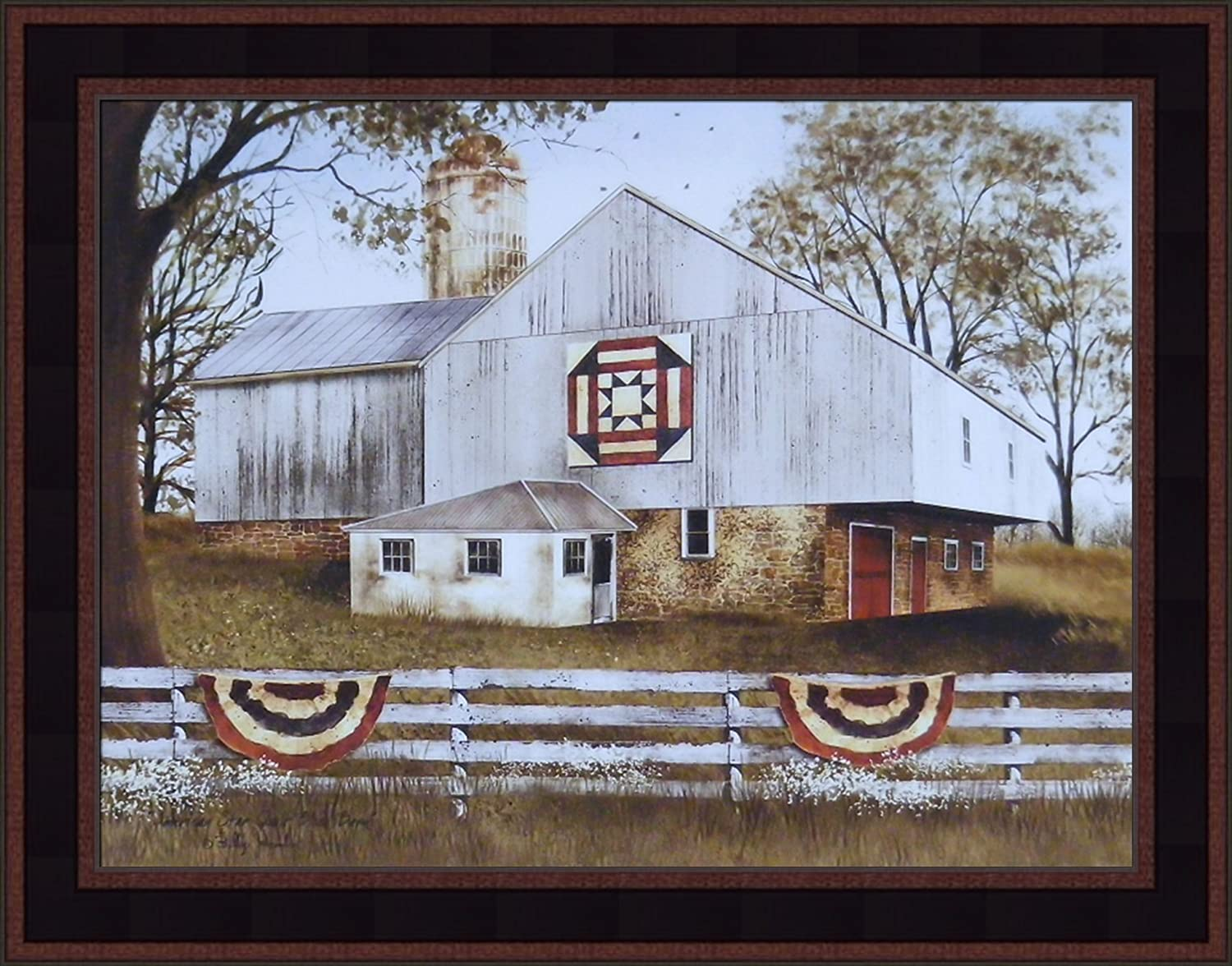 American Star Quilt Block Barn by Billy Jacobs 15x19 Americana Flag Farm Country Folk Art Print Wall Décor Framed Picture