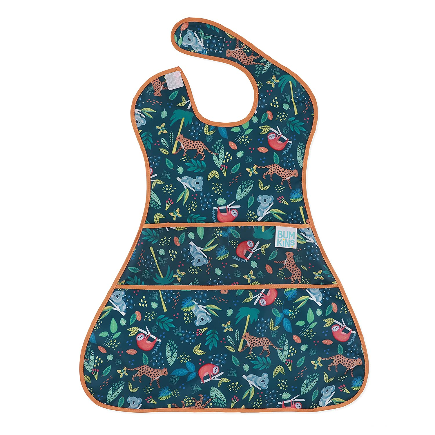 Bumkins SuperBib, Supersized Oversized Baby Bib, Waterproof Fabric, Fits Babies and Toddlers 6-24 Months – Jungle