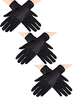 Sumind 3 Pairs Wrist Length Gloves Women Short Satin Gloves Opera Short Gloves for 1920s Wedding Party