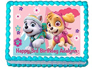 Cakes for Cures Paw Patrol Skye and Everest Edible Party Cake Topper Decoration Frosting Sheet