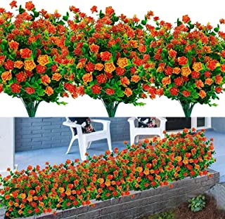 8PCS Artificial Flowers Outdoor UV Resistant Plants, 8 Branches Faux Plastic Corn-flower Greenery Shrubs Plants Indoor Out...