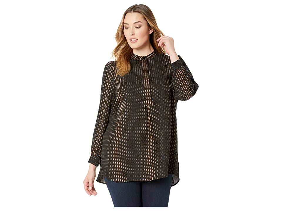 Anne Klein Plus Size Florentine Dot High-Low Blouse (Anne Black/Vicuna) Women's Clothing