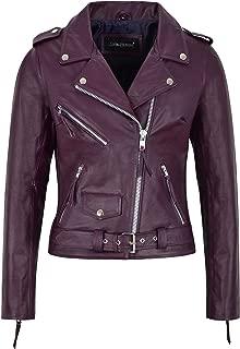 Ladies Brando Classic Motorcycle Genuine Cowhide Leather Jacket MBF