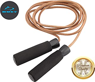 HUEY Sport Leather Jump Rope Adjustable Skipping Rope for Speed Quiet Training Boxing MMA Cardio Crossfit Fitness Works Well Both Indoor and Outside The Gym for Beginner Men and Women
