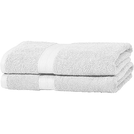 Amazon Basics Handtuch-Set, ausbleichsicher, 2 Saunatücher, hellweiß, 100 Prozent Baumwolle 500g/m²