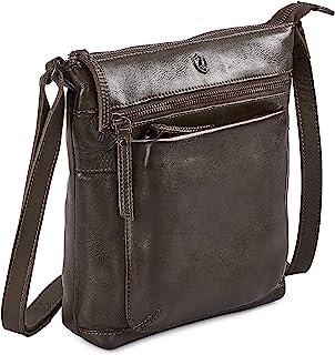 """Cochoa Frauen Damen Vintage Echtes Leder Kleine Umhängetasche Ledertasche Handtasche (Olivgrün, 9""""x 9"""" x 1,5"""")"""