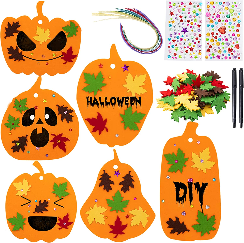 Sunolga Felt Pumpkins Halloween Crafts Kits for Kids 30 Pumpkins Halloween DIY Kit Children Crafts with Rhinestone Stickers Fall Maple Leaves Ribbon Pen for Kids Halloween Thanksgiving Decorations