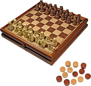 WE Games Medieval Chess & Checkers Game Set - Brown & Ivory Chessmen, Wooden Storage Board - 15 inch (Renewed)