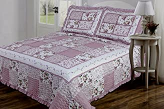 Legacy Decor 3 PC Quilted Bedspread Coverlet Mauve and Cream Floral Patchwork Design with Ruffles Microfiber King Size
