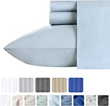 California Design Den Luxury Sateen Queen Size Sheets - 4 Piece 500 Thread Count Sheet Set, Light Blue 100% Pure Cotton Bedding, Fade Resistant Solid Color, Deep Pocket Fits Mattress Upto 18 Inches