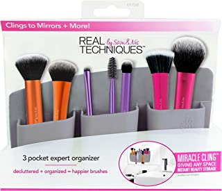 Real Techniques 3 Pocket Expert Organizer Grey, Easily Mounts to Mirror, Wall, Dresser, or Tile, Holds Makeup, Makeup Brushes.