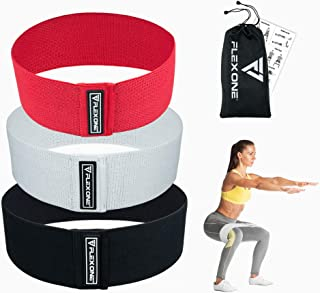FlexOne Resistance Bands for Legs and Butt, Fabric Exercise Bands, Workout Hip Bands, Burn Fat and Tone/Strengthen Abs, Cloth Booty Bands, No Slip Sports and Fitness Cloth Fabric Loop Circle Bands
