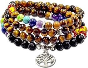 Mala Beads Necklace And Bracelet- Meditation Beads Mantra Necklace With 7 Chakra Bracelet & Tree Of Life Pennant -108 Buddhist Prayer Beads Chakra Necklace- Tiger Eye & Turquoise Mala Beads Option