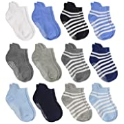 Aminson Anti Slip Non Skid Ankle Socks With Grips for Baby Toddler Kids Boys Girls (12 pairs Assorted, 6-12 Months)