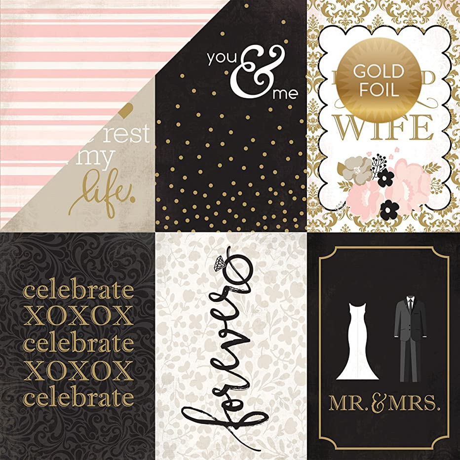 Echo Park Paper WB129013 Wedding Bliss Foiled Cardstock, 12