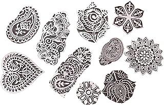 JGARTS Printing Stamps Mughal Design Wooden Blocks (Set of 10) Hand-Carved for Saree Border Making Pottery Crafts Textile ...
