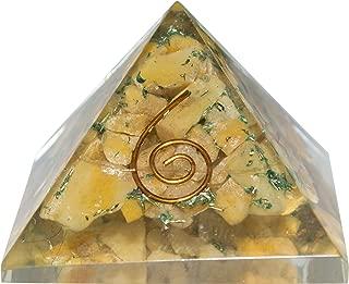 Crocon Citrine Orgone Pyramid for Chakra Balancing Reiki Healing Crystal Energy Generator Aura Cleansing EMF Protection Spiritual Meditation Home Decor Size: 1 Inch