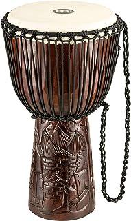 Meinl Percussion PROADJ2-L طناب حرفه ای 12 اینچی آفریقایی با طناب تنظیم ماهوگان Djembe با سر پوست بز ، -اینچ ویلاژ-اینچ حک شده
