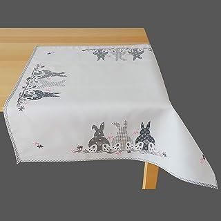 khevga Camino de mesa de Pascua con dise/ño de Pascua blanco con conejo 40 x 140 cm