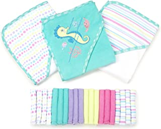 Spasilk 23-Piece Essential Baby Bath Gift Set, Aqua Seahorse