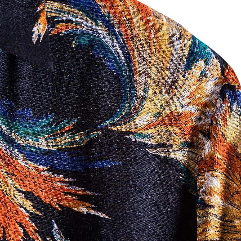 ZBRO Men's Summer Beach Shirt Casual Hawaiian Flower Shirt T-Shirt Short Sleeve