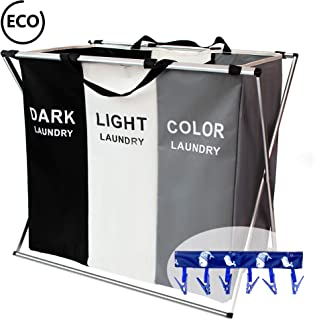 FUNFLOWERS Laundry Hamper Basket Sorter with Handle, 3 Sections Foldable Portable Large Dirty Clothes Basket for Bathroom