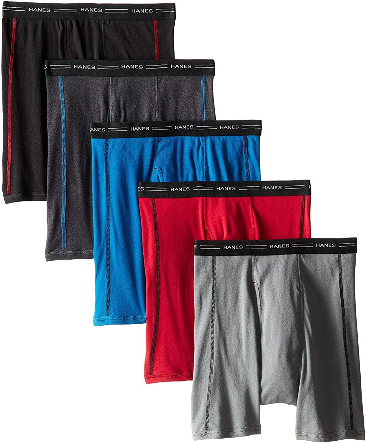 Hanes Sport Boxer Brief with Comfort Waistband 5 Pack Assorted Color XX-Large
