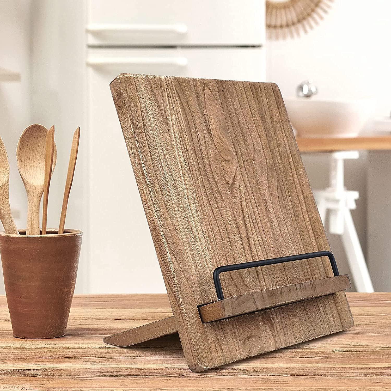Cookbook Stand - Wood Cookbook Holder, Cutting Board Cookbook Re