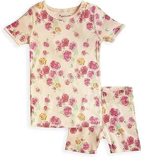 Skylar Luna Girl's Short Sleeve Stripe and Print Pajama Set - 100% Organic Cotton Shirt Shorts - GOTS Certified
